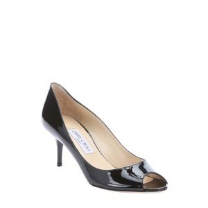 Jimmy Choo Isabel Black Patent Peep Toe Pumps Heel